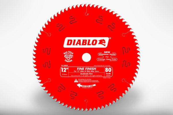 "Diablo 12"" x 80 Tooth Fine Finish Miter Saw Blade D1280X"