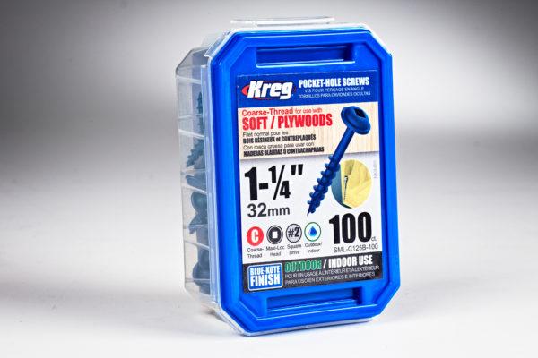 "Kreg #8 x 1-1/4"" Pocket-Hole Screws, Coarse-Thread, Blue-Kote 01"