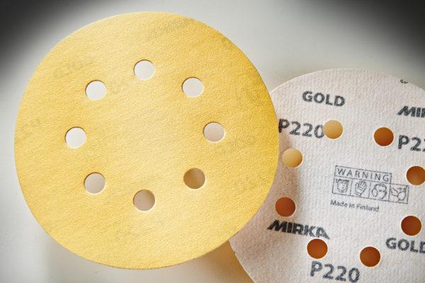 "Mirka Gold 5"" Sandpaper Discs, 220-Grit, Hook & Loop 01"