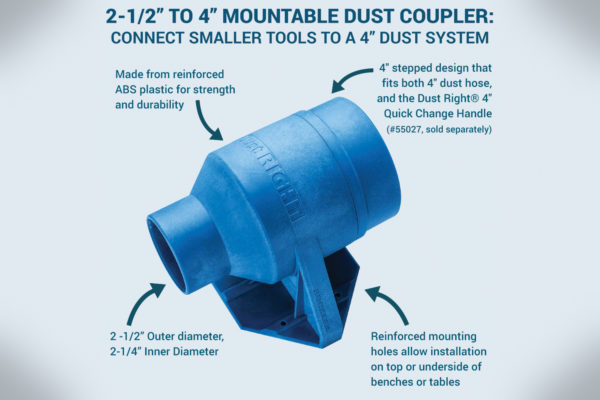 222509 Dust Right 2-12 to 4 Mountable Dust Coupler 59056-1