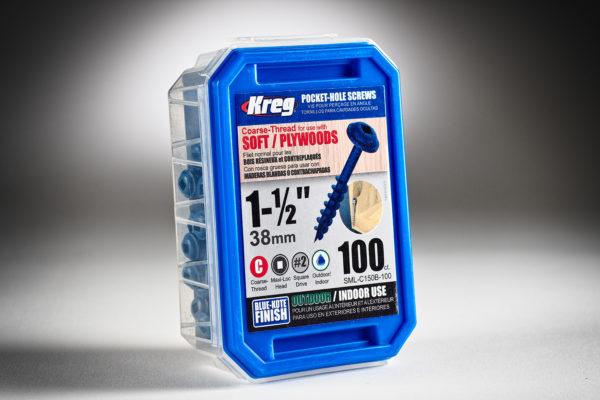Pocket Hole Screws, Coarse-Thread, Blue-Kote, 100 ct. SML-C150B-100-2