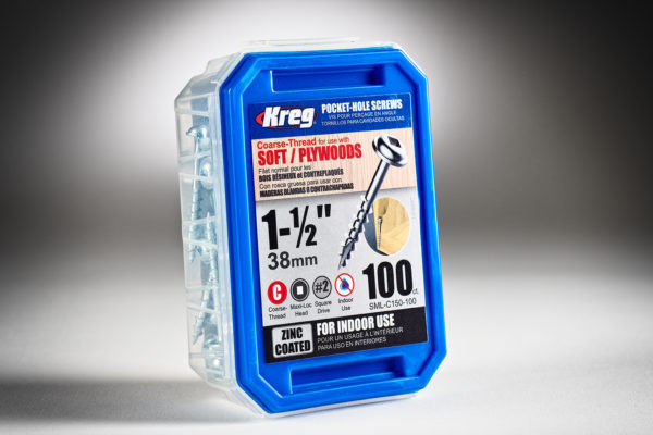 Kreg #8 x 1-12 Pocket Hole Screws, Coarse-Thread, 100 ct. SML-C150-1