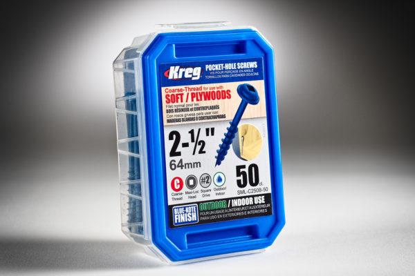 Kreg #8 x 2-12 Pocket Hole Screws, Coarse-Thread, Blue-Kote, 50 ct.. SML-C250B-50-2