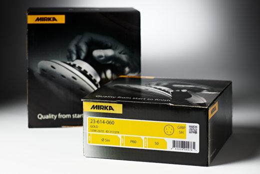 """Mirka Gold 5"""" 5H Sandpaper Discs, Hook & Loop 50 Pack 60"""